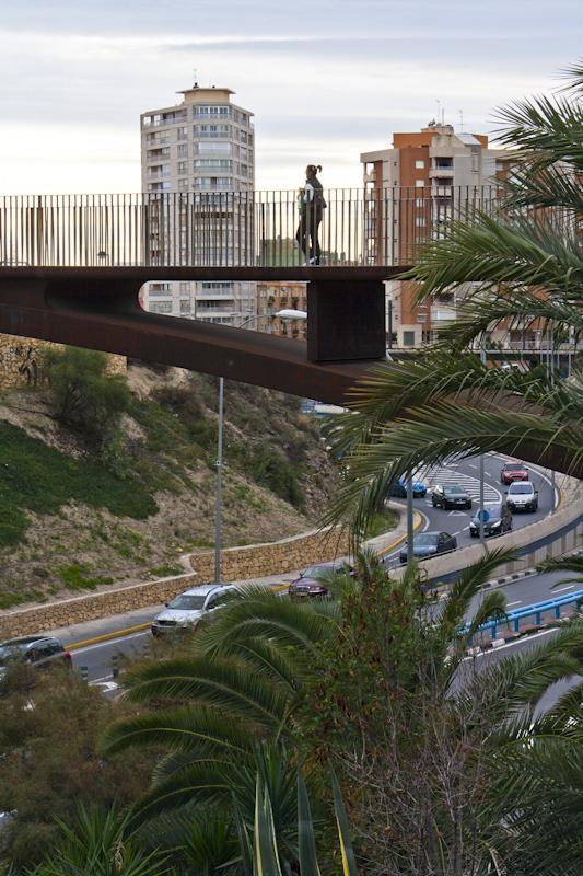 Pedestrian bridge to the gigantic mall across the Avenida de Dénia.
