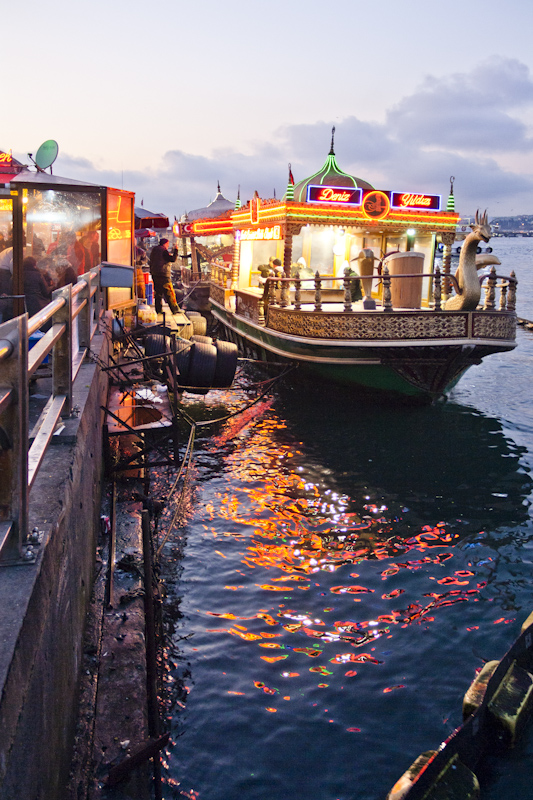You can buy delicious fish from barges floating in the Bosphorus.