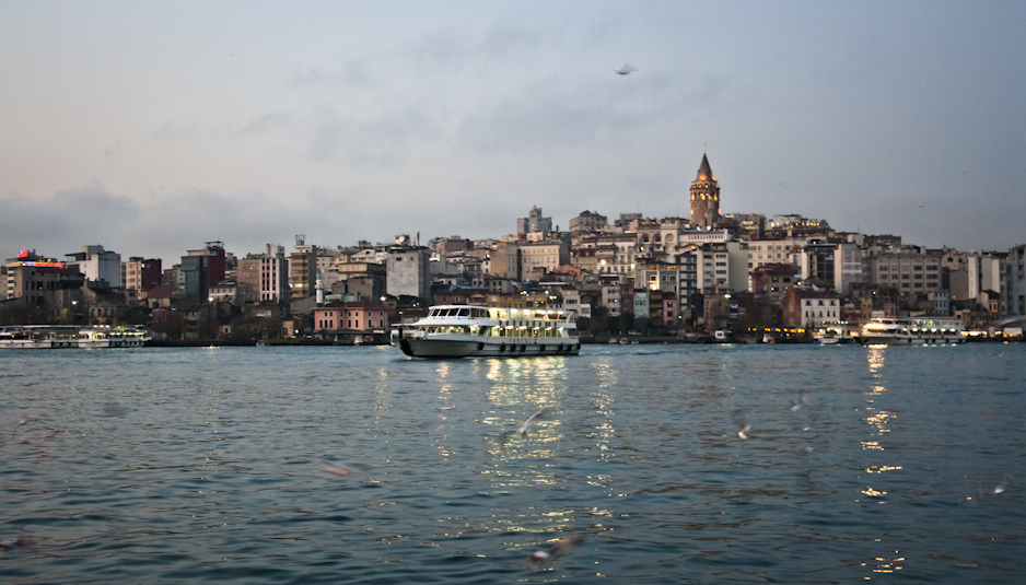 Looking across the Bosphorus to the Asian side and the Galata Tower.